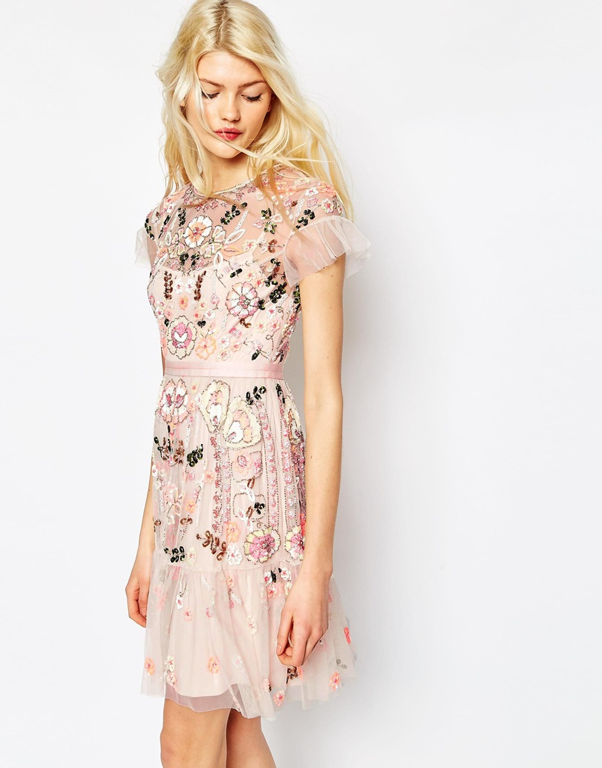 Lyst Needle Amp Thread Floral Tiered Embellished Dress