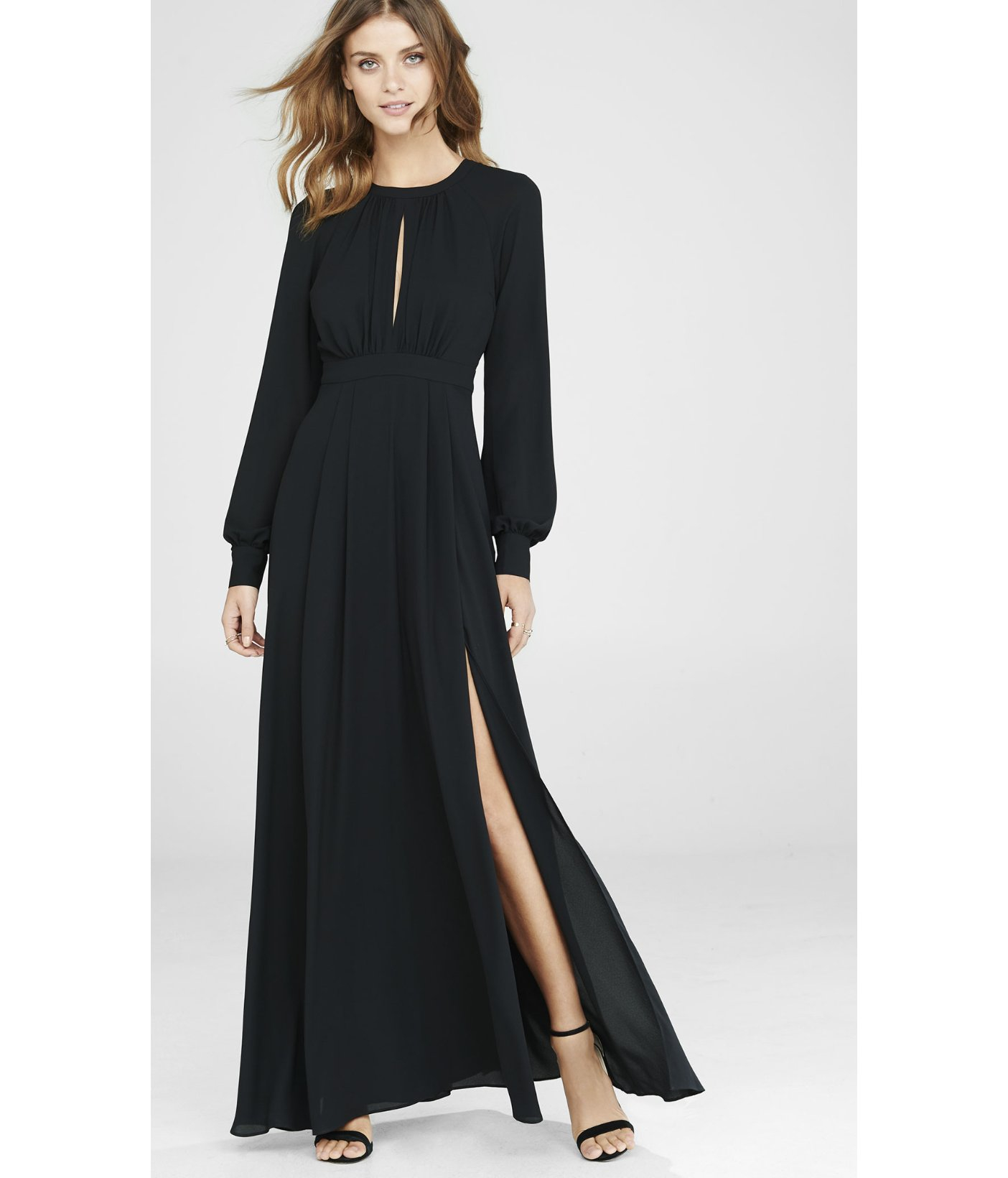 lyst express black poet sleeve maxi dress in black
