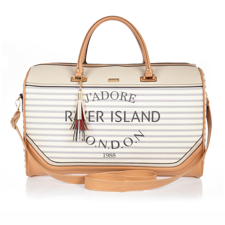 River island Cream Stripe Paris Print Weekend Bag in Natural | Lyst