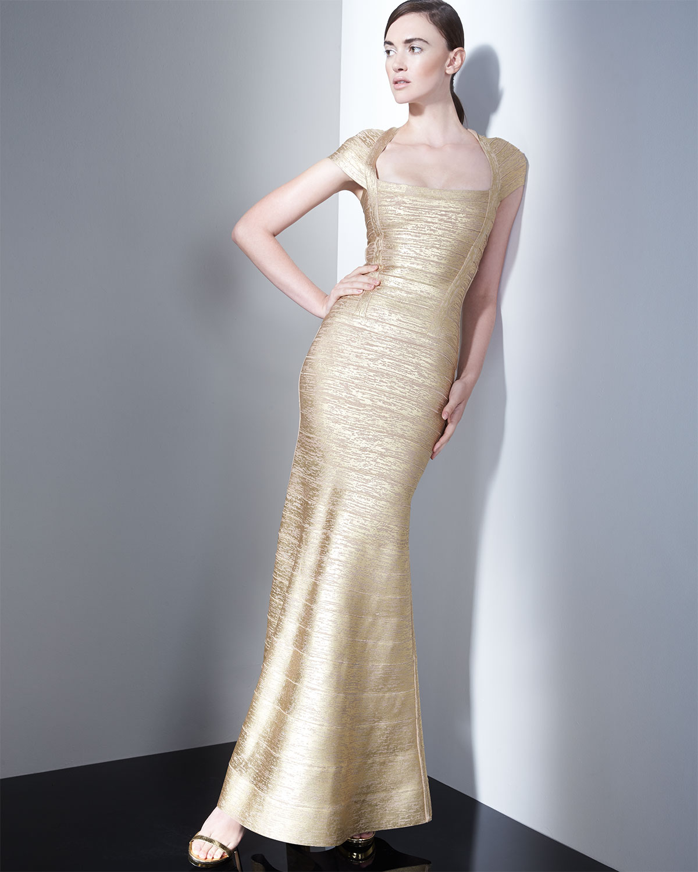 Lyst - Hervé Léger Lora Woodgrain Bandage Gown in Metallic