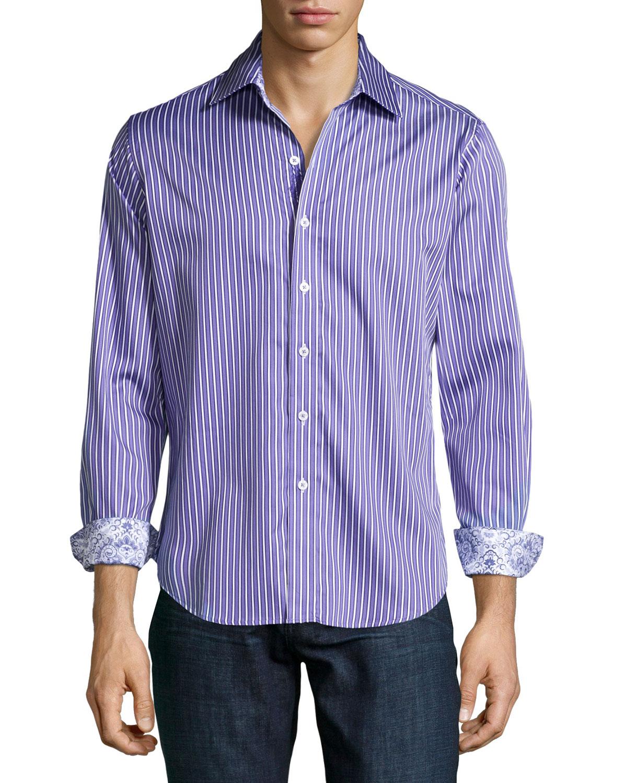 Robert graham the reflex striped sport shirt in purple for for Robert graham sport shirt