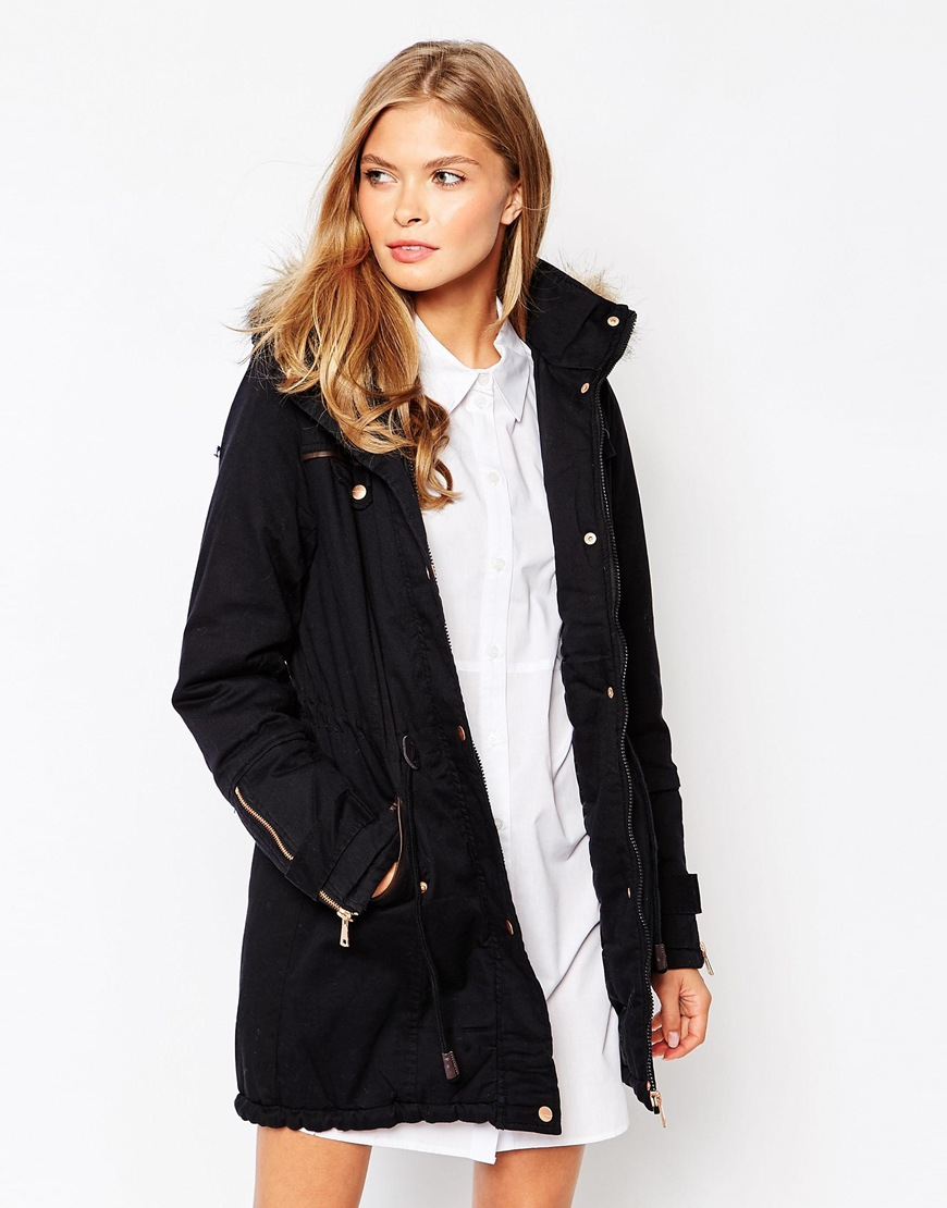 Vero moda Faux Fur Hooded Parka With Drawstring Detail in Black | Lyst