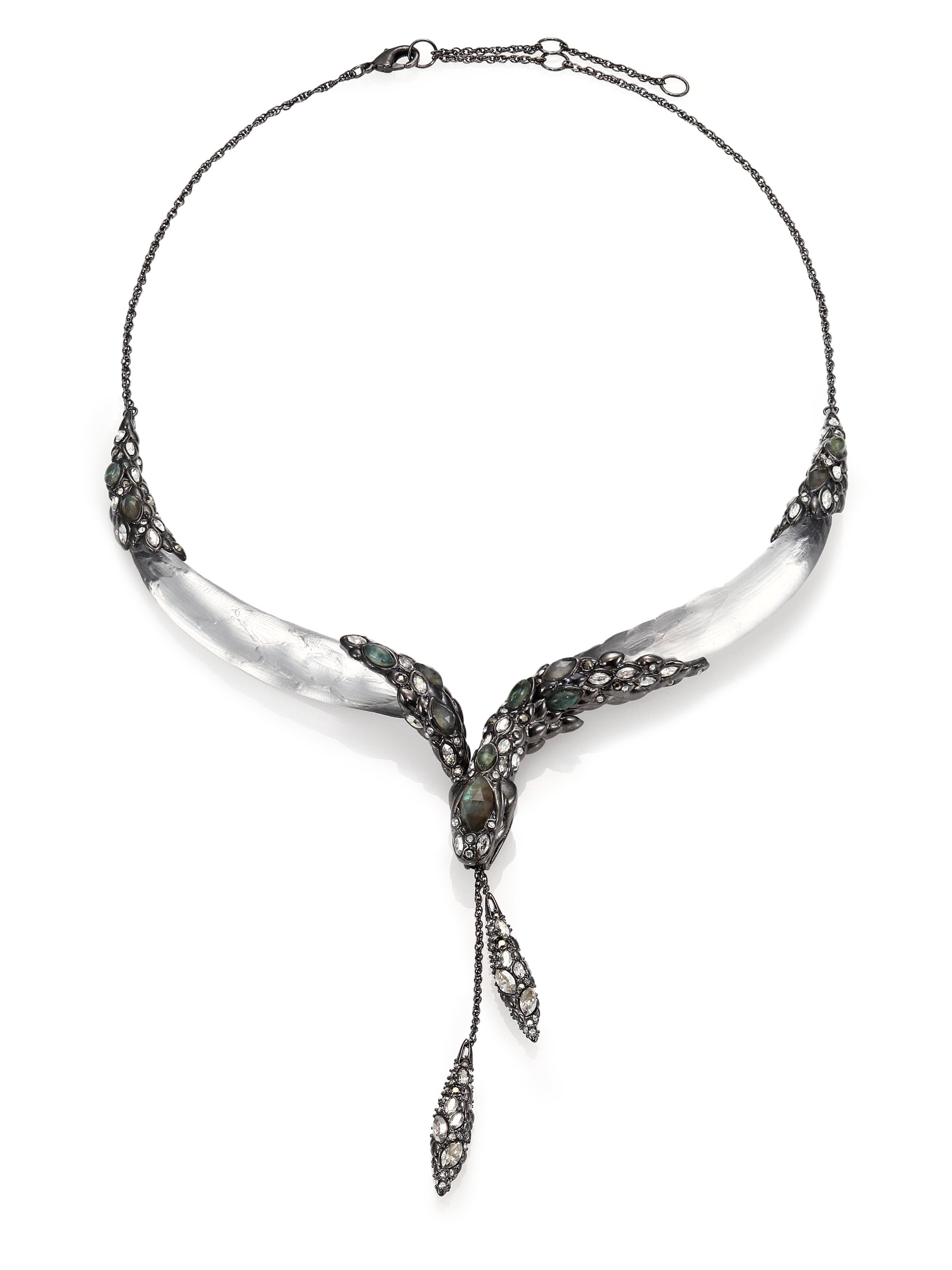 Alexis Bittar Lucite Collar Necklace Silver ub6Gpz