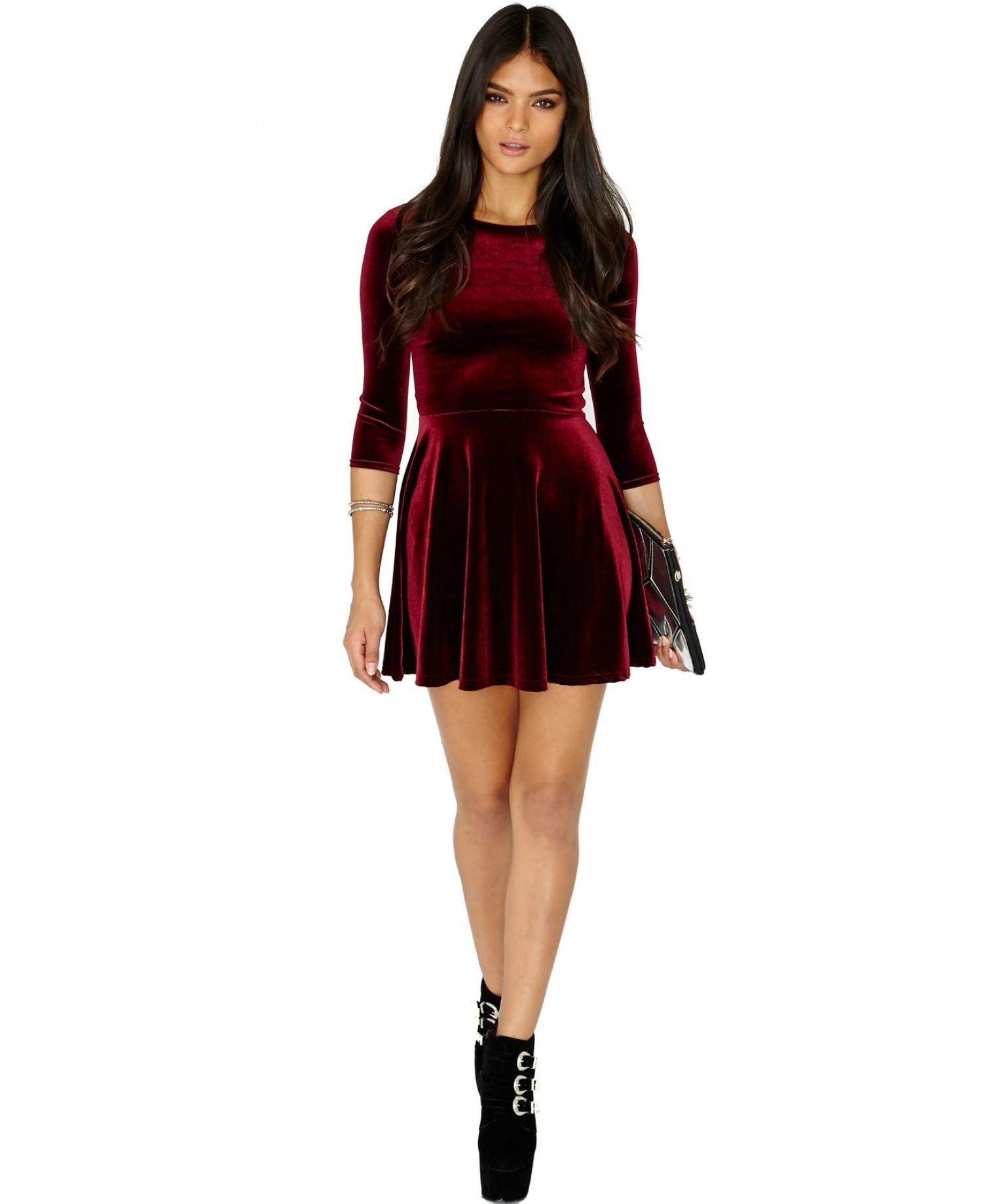 7a75715222 Lyst - Missguided Ofelita Velvet Skater Dress In Burgundy in Purple