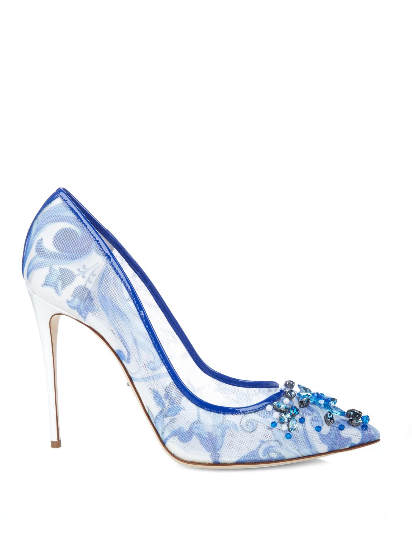 Lyst - Dolce   Gabbana Crystal-Embellished Majolica-Print Mesh Pumps ... 102de28969212