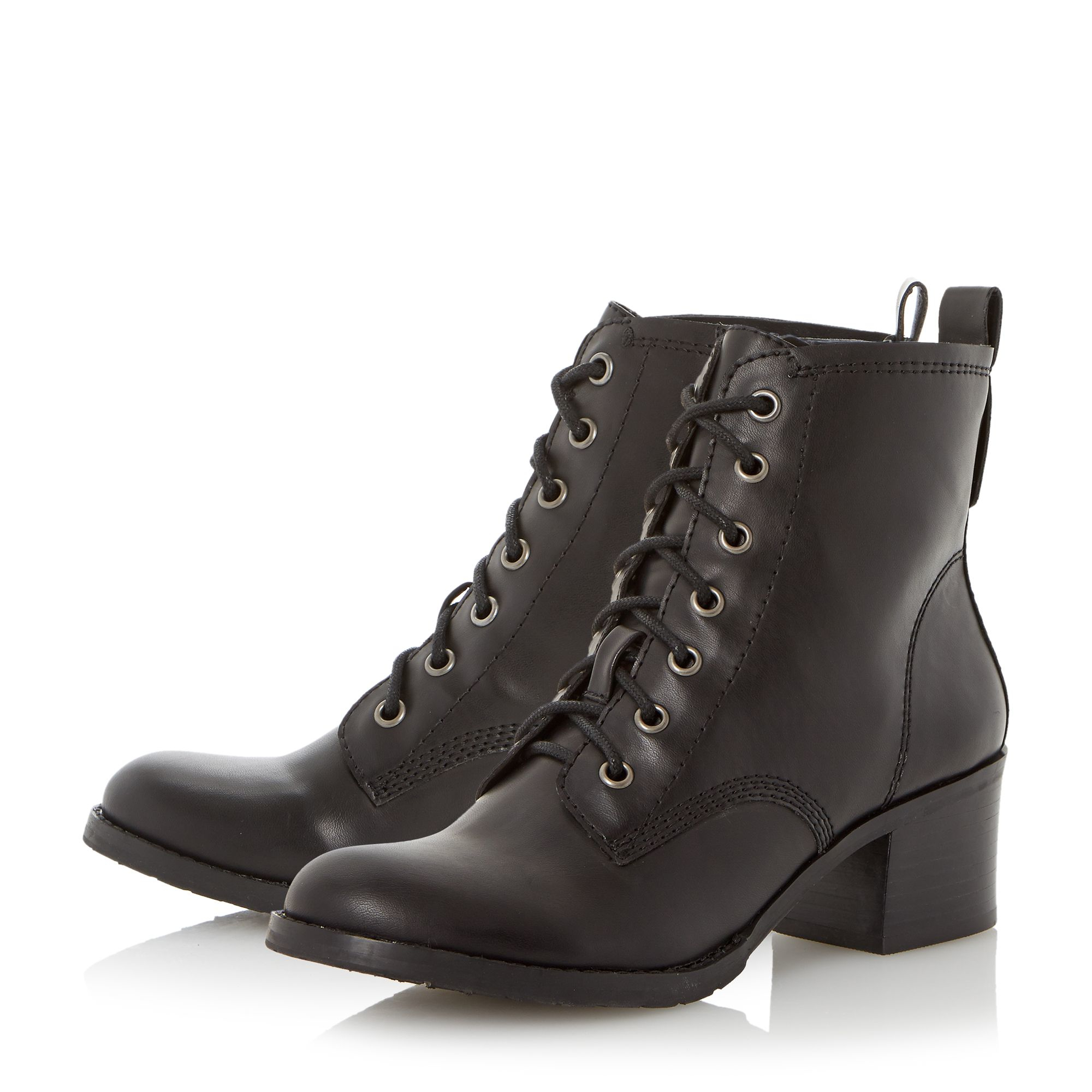 Dune Peppo Lace Up Block Heel Boots in Black | Lyst