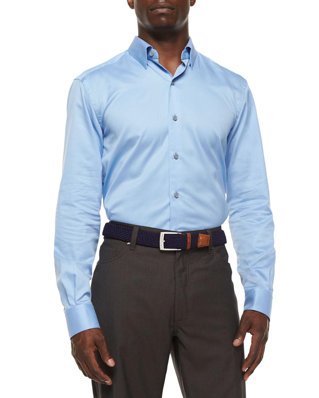ermenegildo zegna 3 ply cotton dress shirt in blue for men lyst. Black Bedroom Furniture Sets. Home Design Ideas