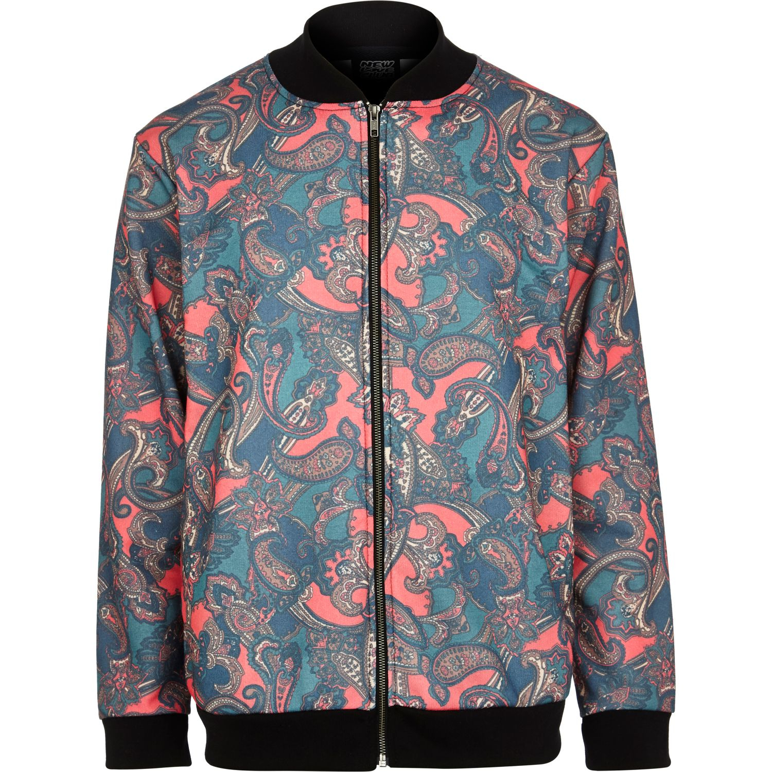 River Island Red New Love Club Paisley Bomber Jacket In