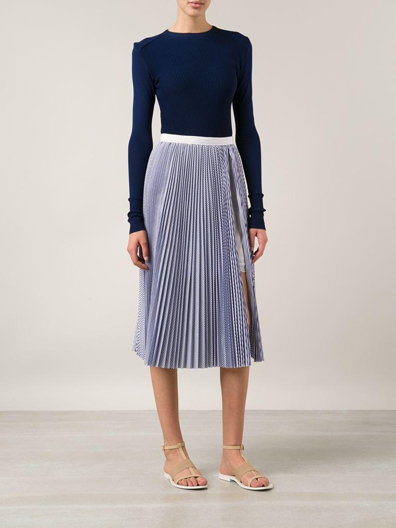 Sacai luck Pleated Skirt in Blue | Lyst
