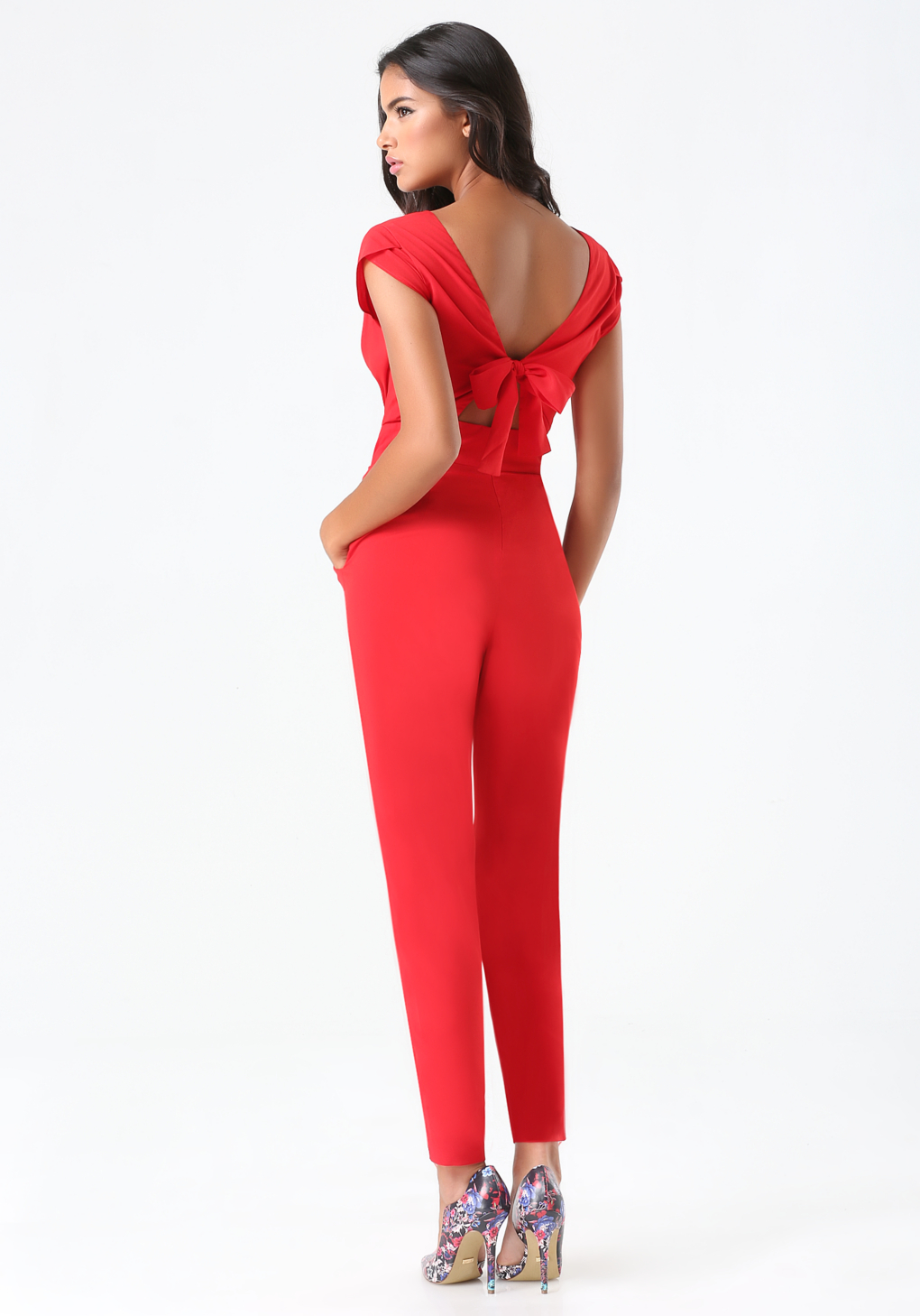 Bebe Petite Emma Bow Jumpsuit in Red | Lyst