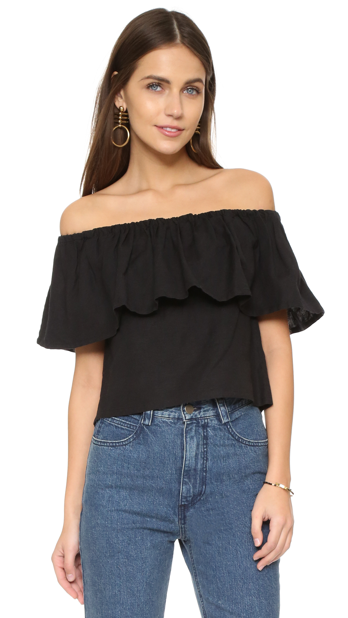 mara hoffman ruffle off shoulder top black in black lyst. Black Bedroom Furniture Sets. Home Design Ideas