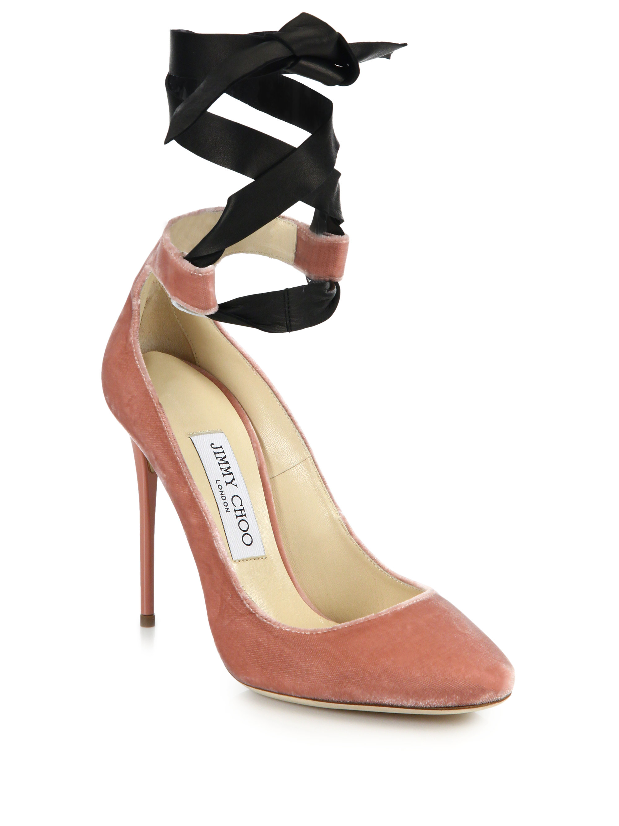 48e427b2da05 ... germany lyst jimmy choo rosana velvet leather ankle tie pumps in pink  4c420 8f16f