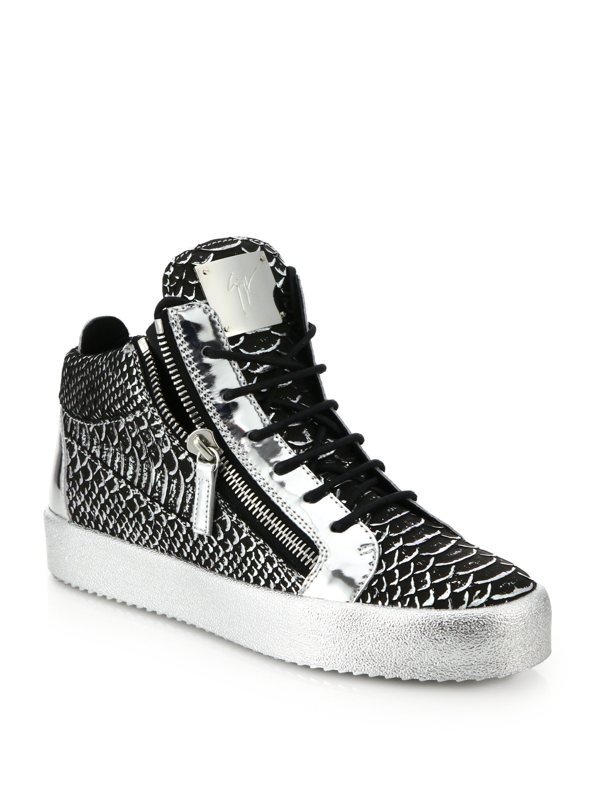 Giuseppe Zanotti Leather Embossed Sneakers cheap top quality GSuSfWB