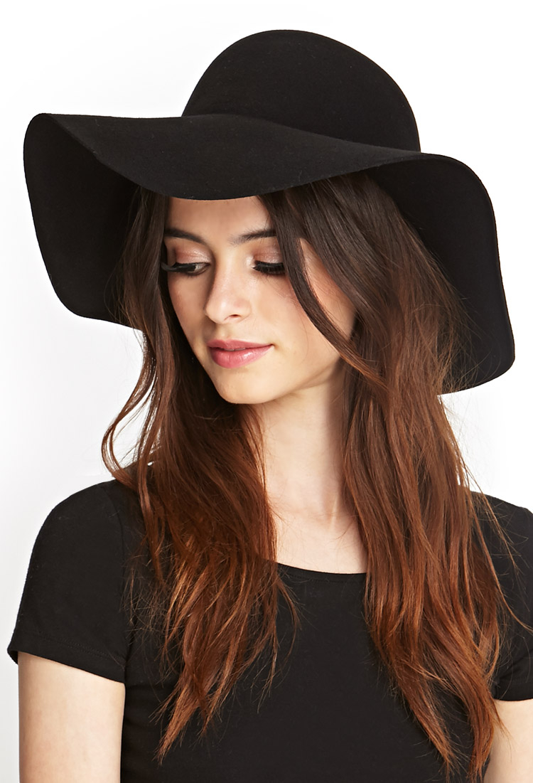 forever 21 classic wool floppy hat in black lyst