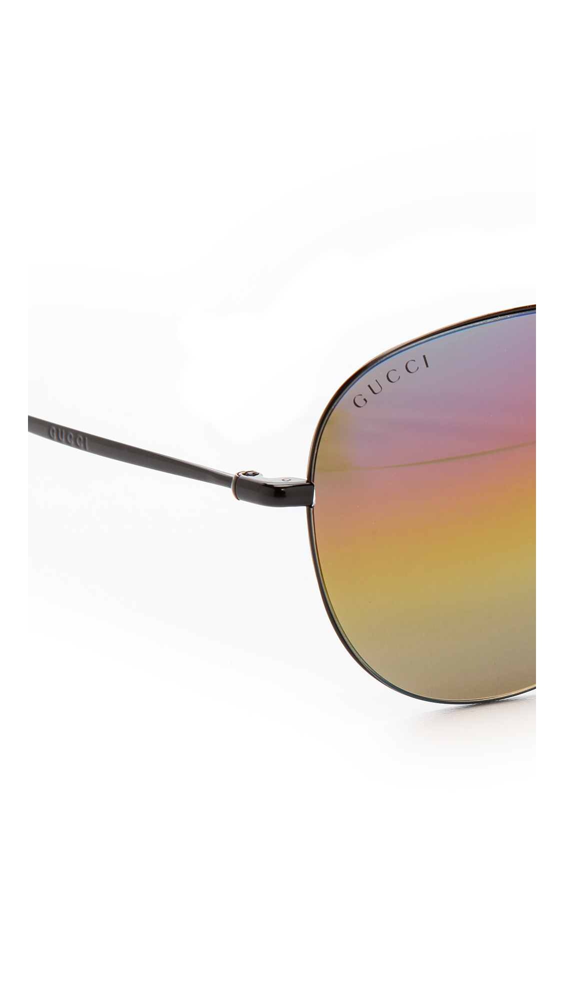 Gucci Mirrored Sunglasses  gucci rainbow mirrored aviator sunglasses shiny black rainbow lyst