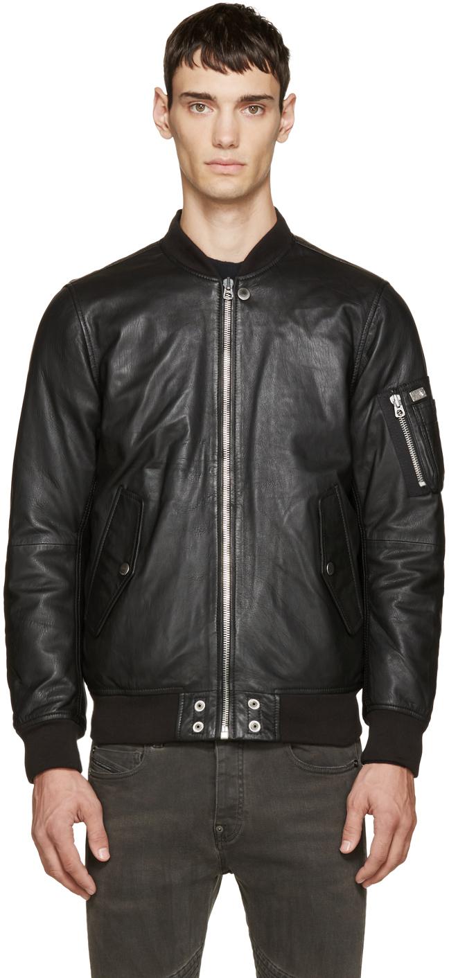 Diesel Black Leather Bomber Jacket in Black for Men | Lyst