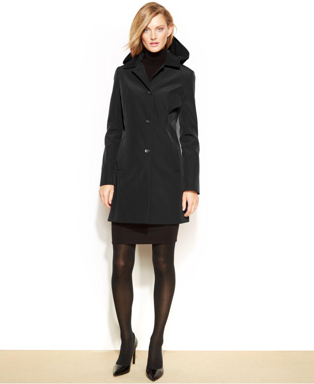 Calvin klein Petite Hooded Rain Coat in Black | Lyst