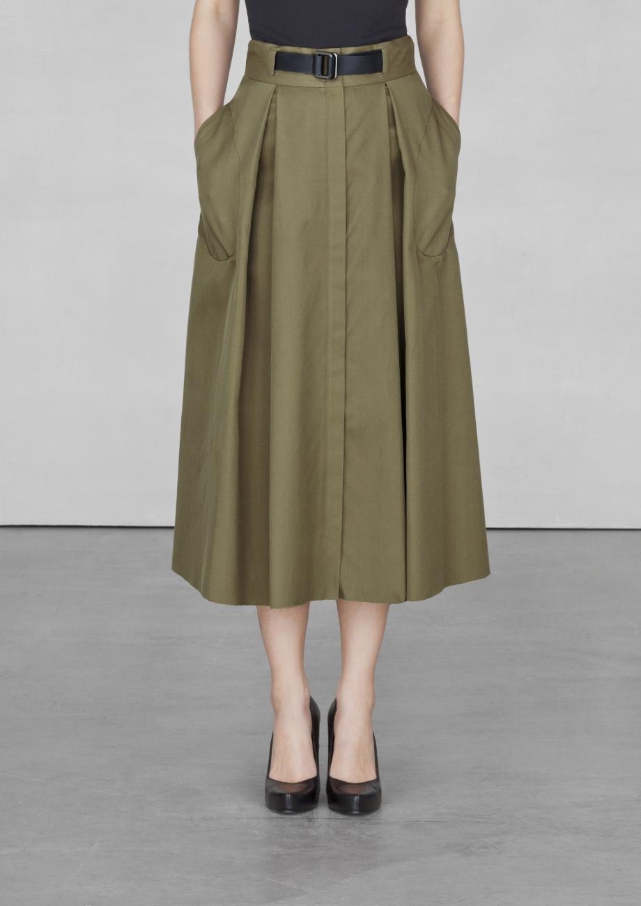other stories belted aline midi skirt in green khaki