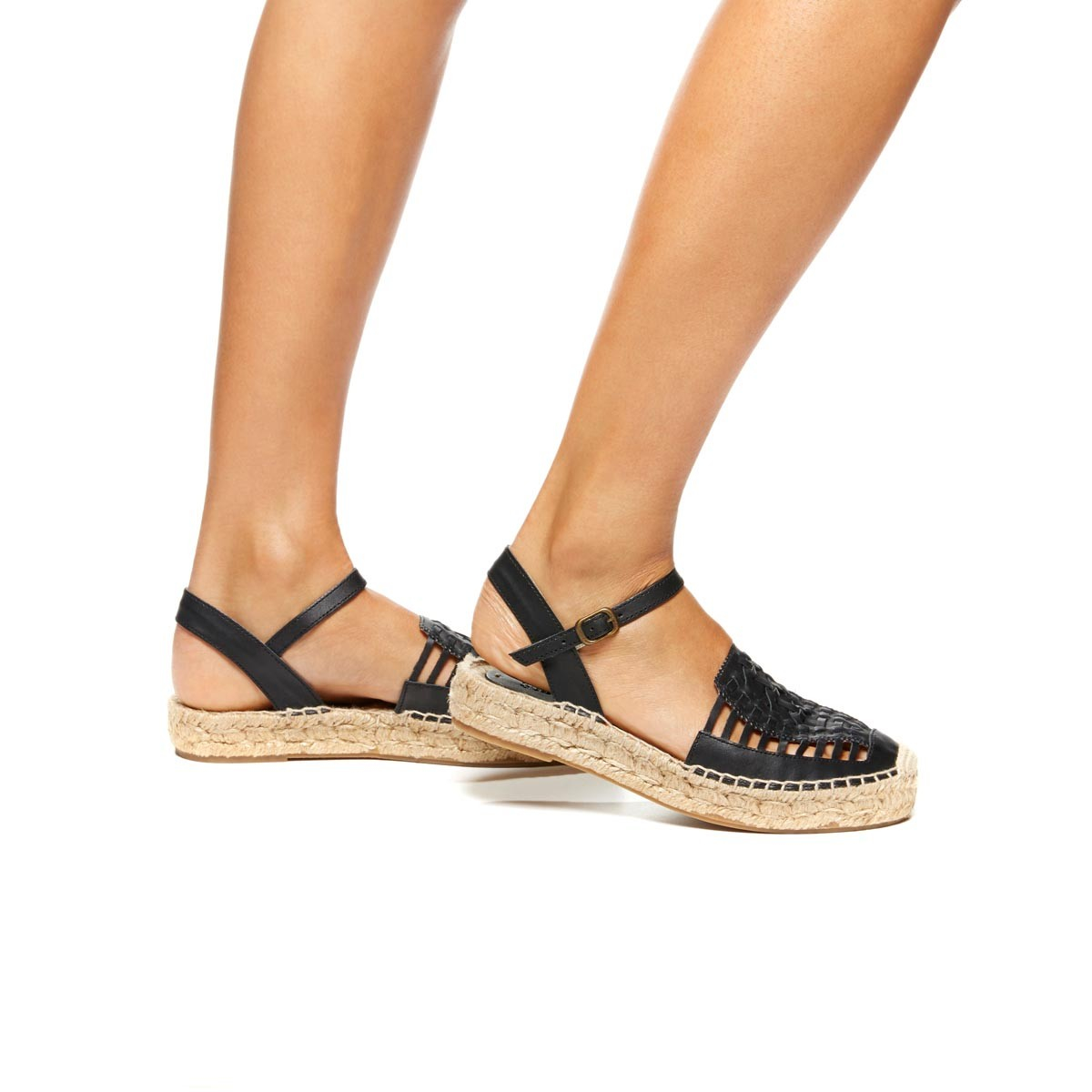 5c0412f210499 Lyst - Soludos Leather Platform Huarache Sandal in Black