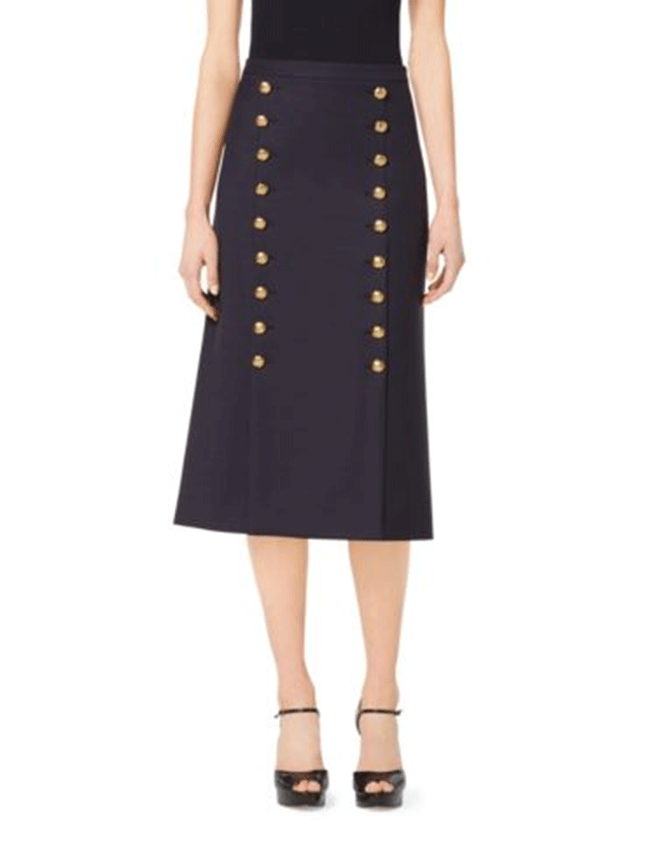 michael kors knot button midi skirt in blue lyst