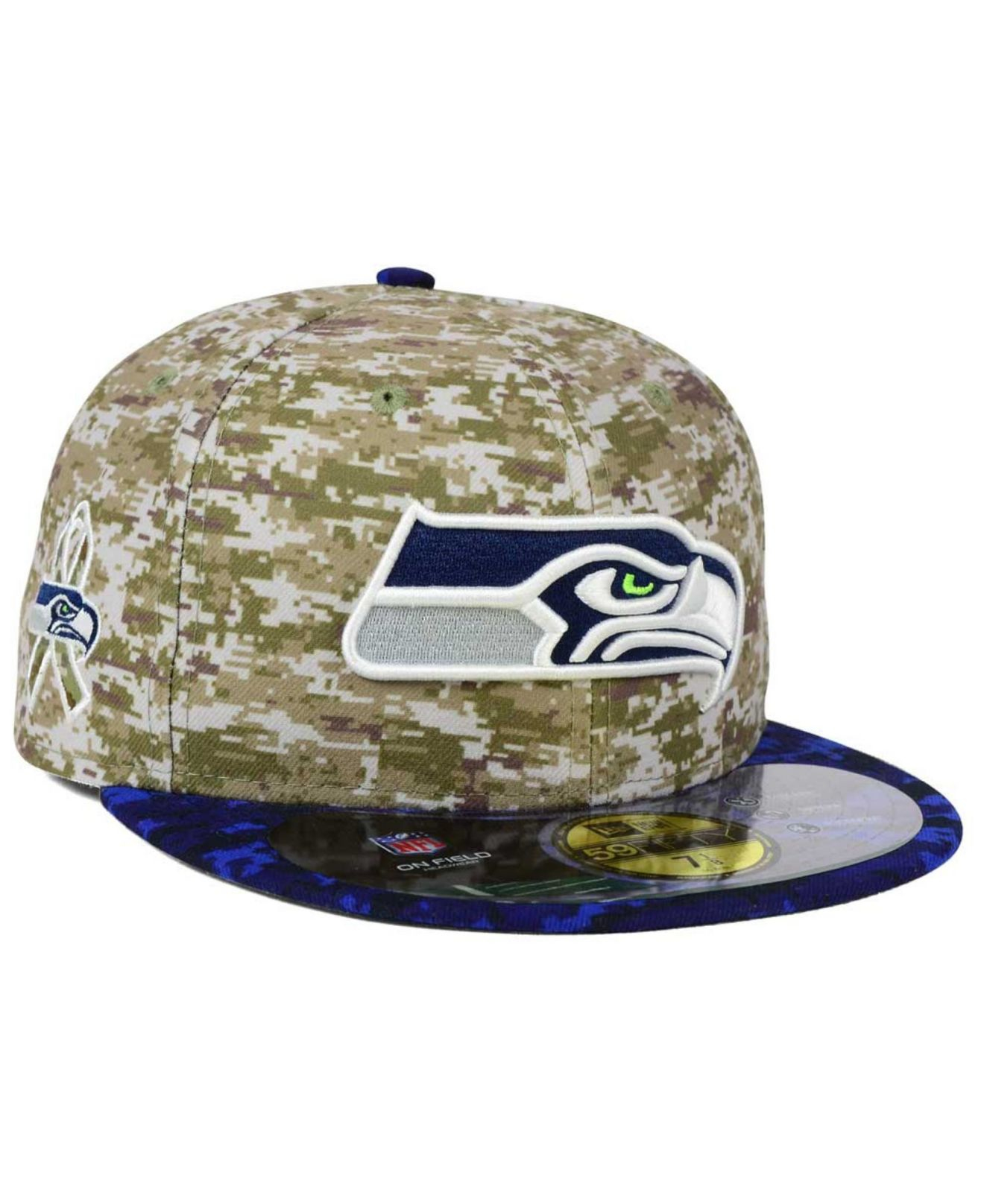premium selection f6c97 0c88e ... uk lyst ktz seattle seahawks salute to service 59fifty cap in blue  48dce a444d