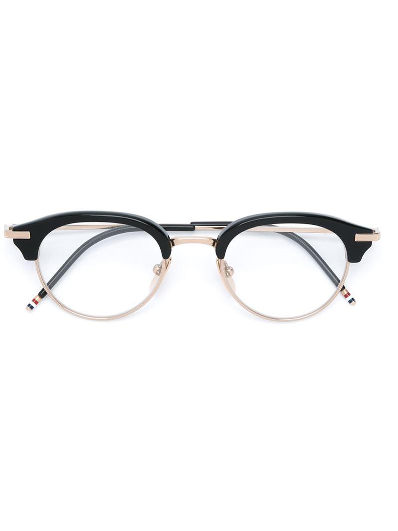 Glasses Frame Oblong : Thom browne Oval Frame Glasses in Black Lyst