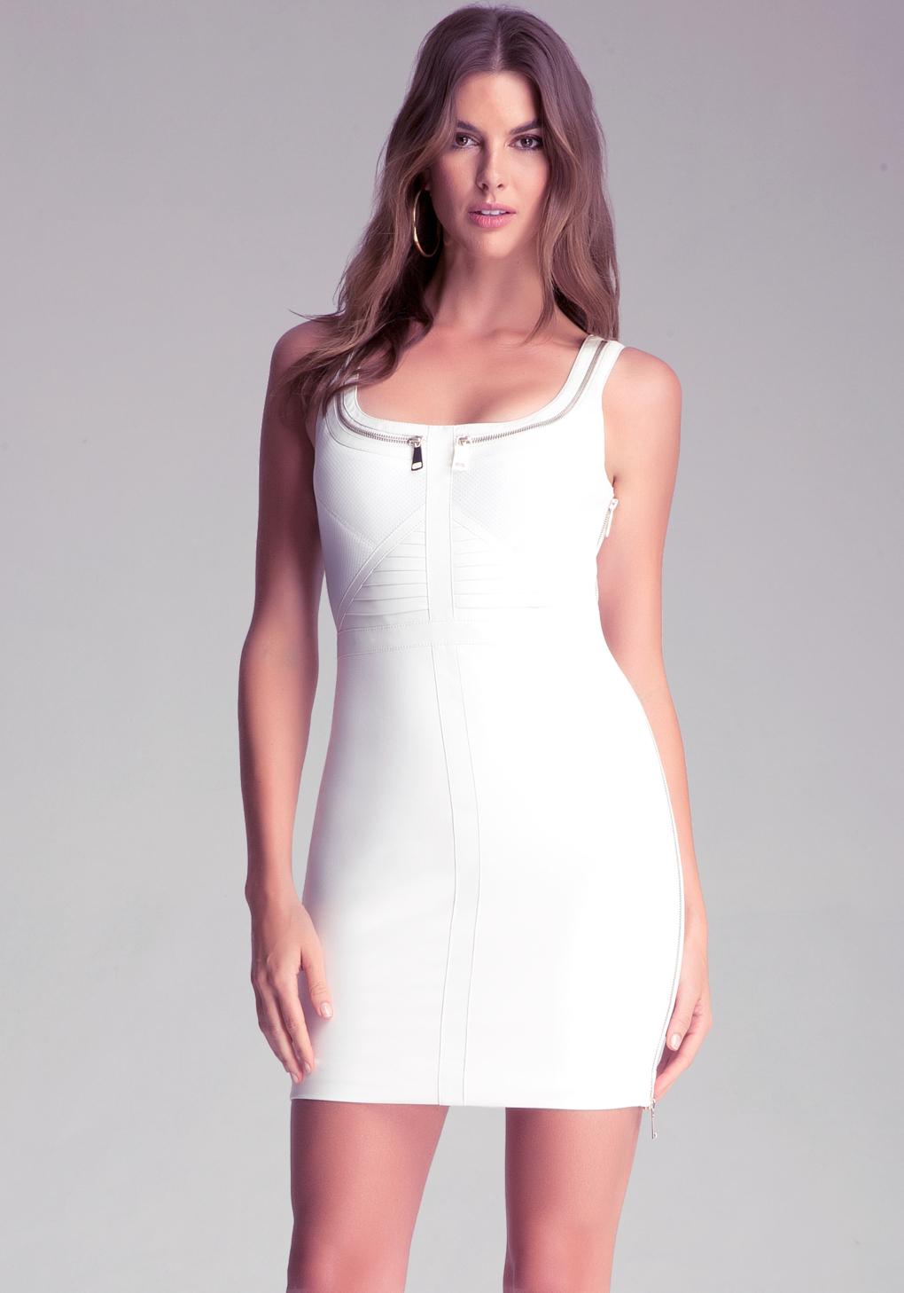 Lyst Bebe Mixed Fabric Zipper Dress In White