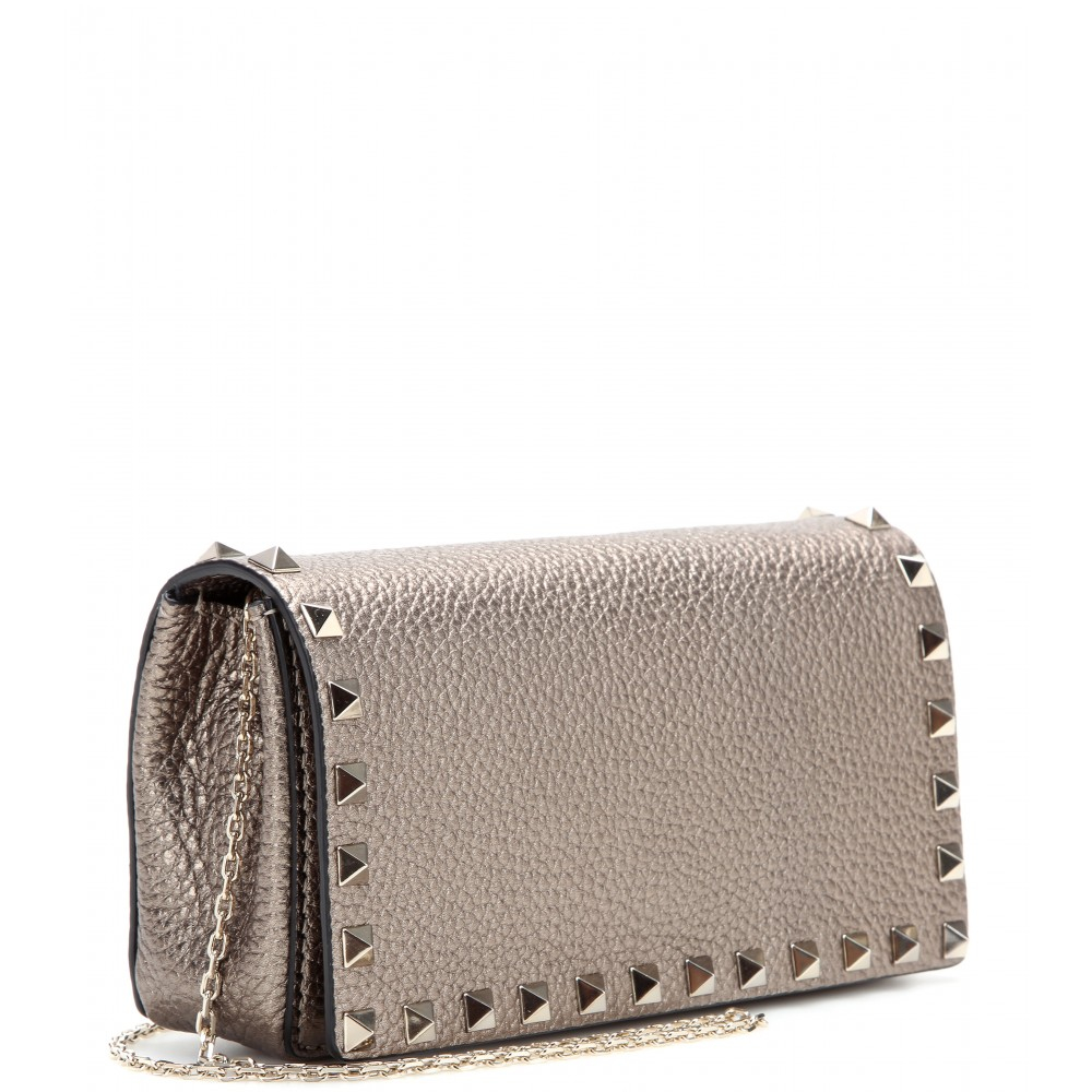 The Rockstud Metallic Quilted Leather Pouch - Silver Valentino 5N6FrG