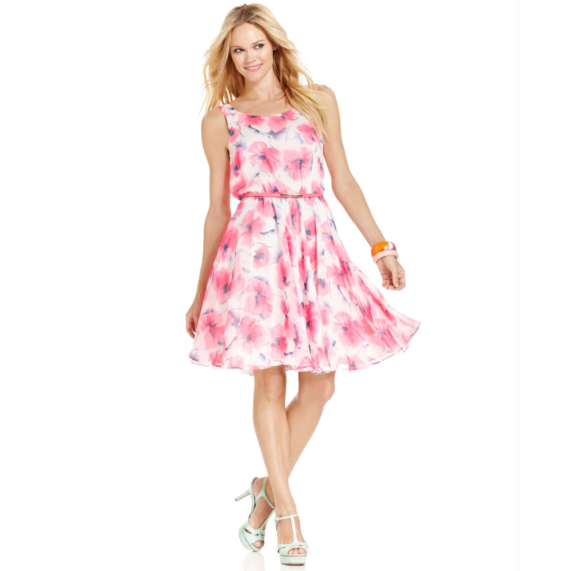 Betsey Johnson Sleeveless Floralprint Belted Dress In Pink Pink Multi Lyst