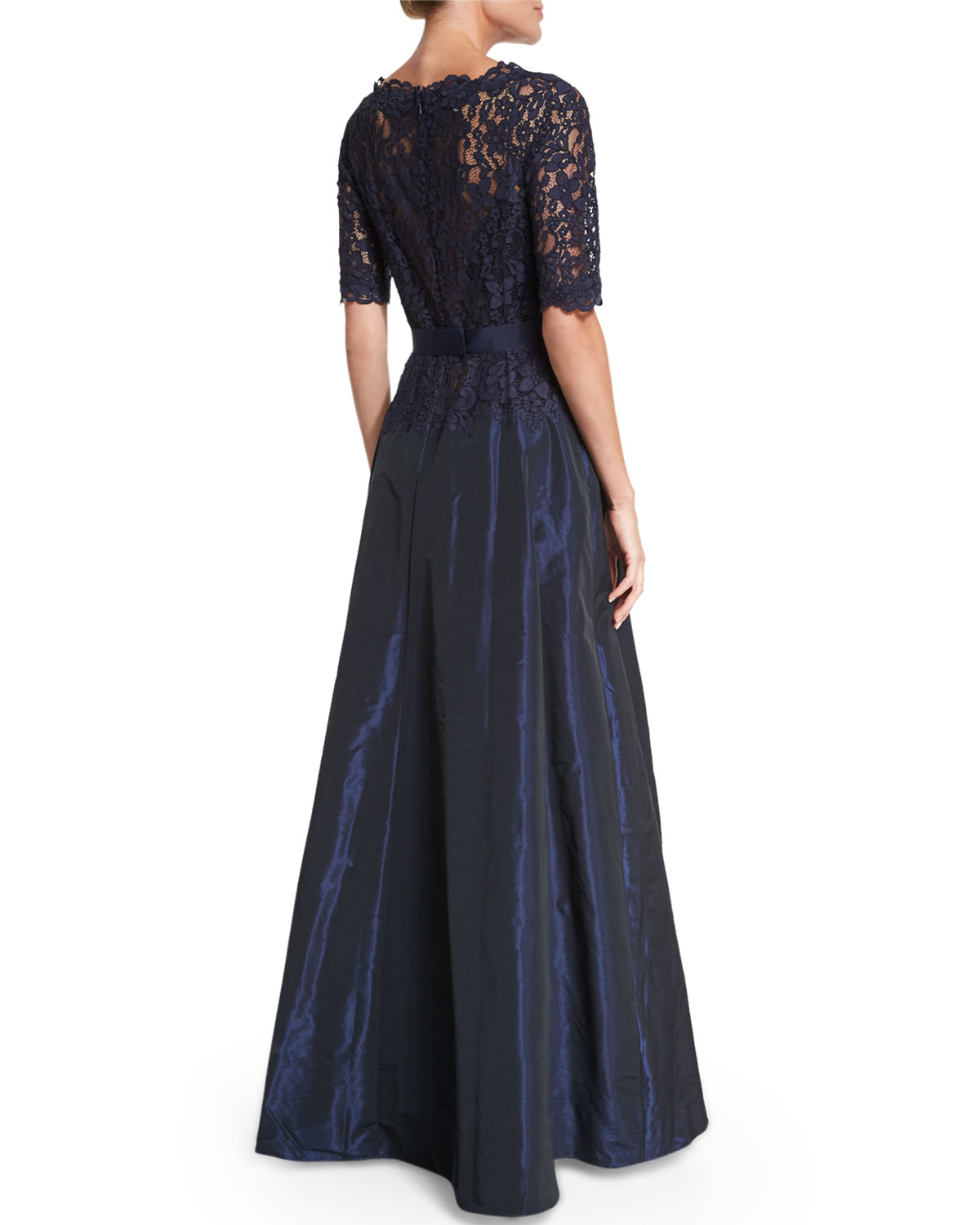 Teri jon Scalloped Lace Gown in Blue