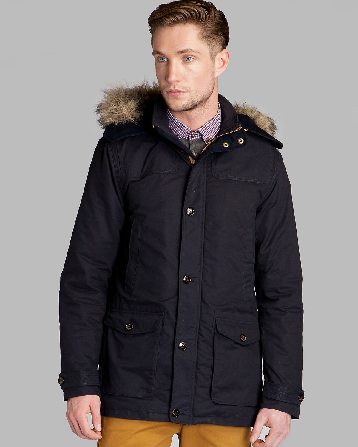 b15e111c0 Lyst Ted Baker Wildery Hooded Parka In Blue For Men. Gallery Men S Nike  Aeroloft Longline Jackets Faux Leather