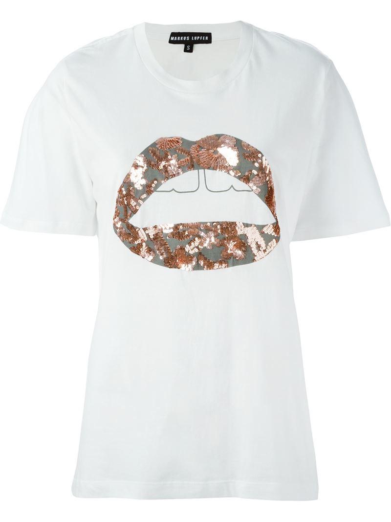 Markus Lupfer 39 Lara Lip 39 T Shirt In White Lyst