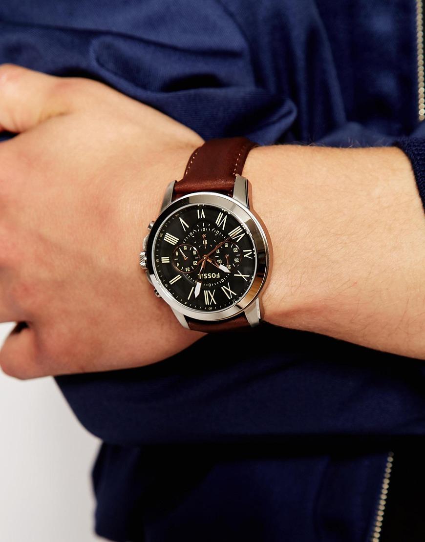 42458da40 Fossil Grant Leather Strap Watch Fs4813 in Brown for Men - Lyst