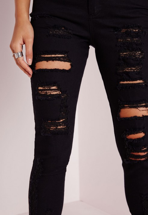Brigitte high waisted extreme ripped skinny jeans black