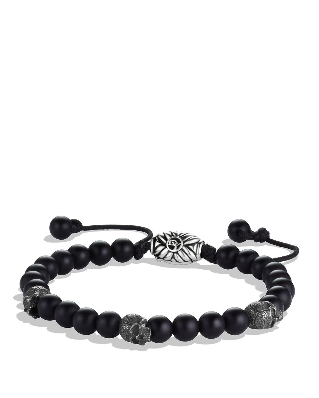 David Yurman Spiritual Beads Skull Bracelet With Black