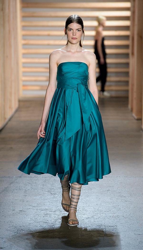 Lyst Tibi Satin Poplin Strapless Wrap Dress In Green