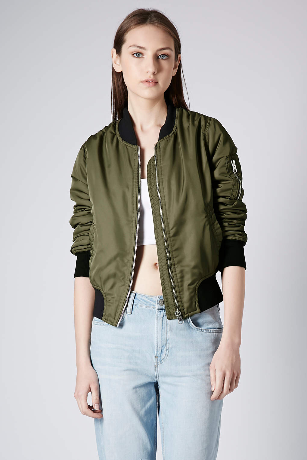 Topshop Ultimate Ma1 Bomber Jacket In Green Khaki Lyst