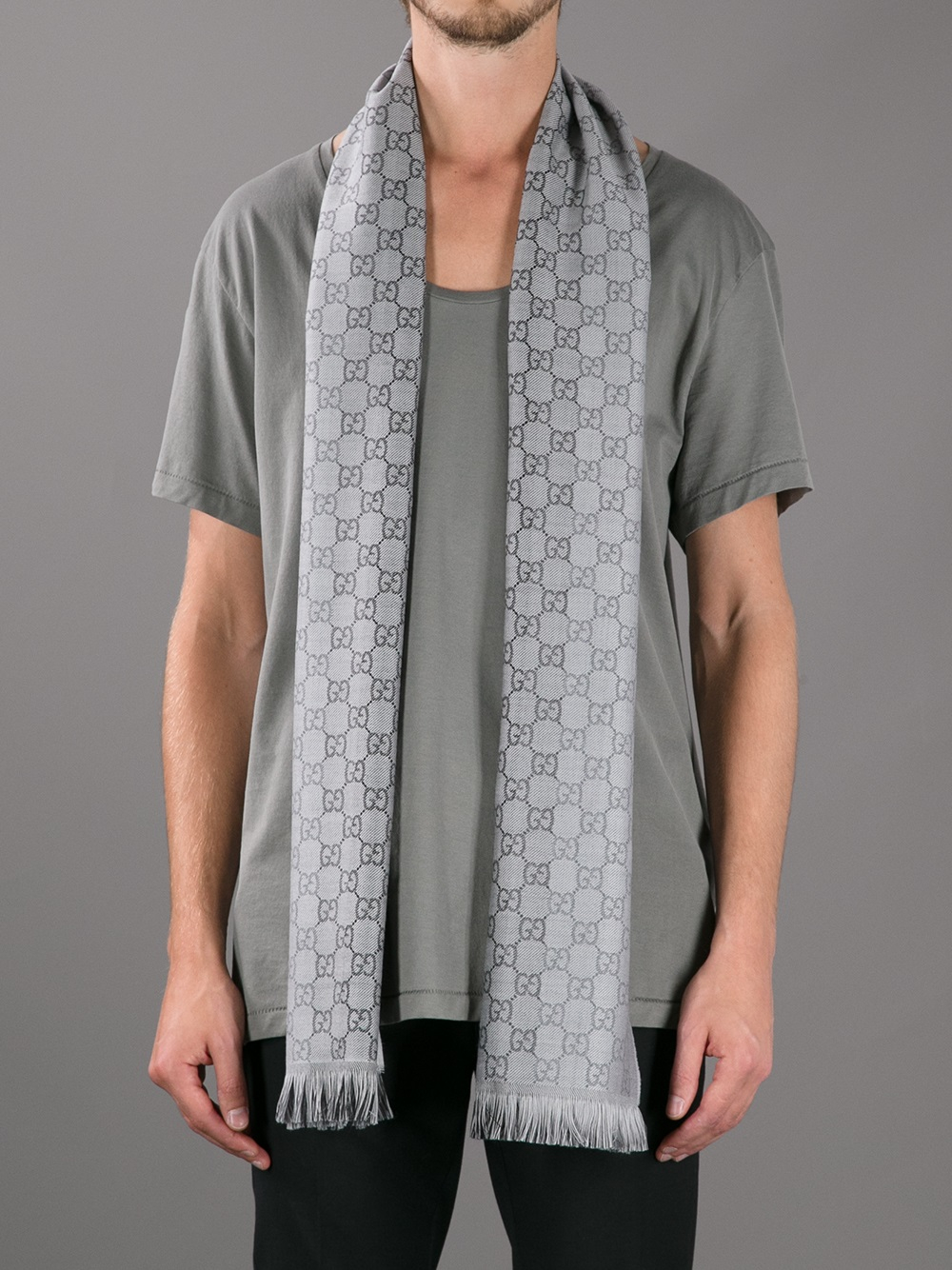 gucci branded mixed print scarf in gray for men lyst