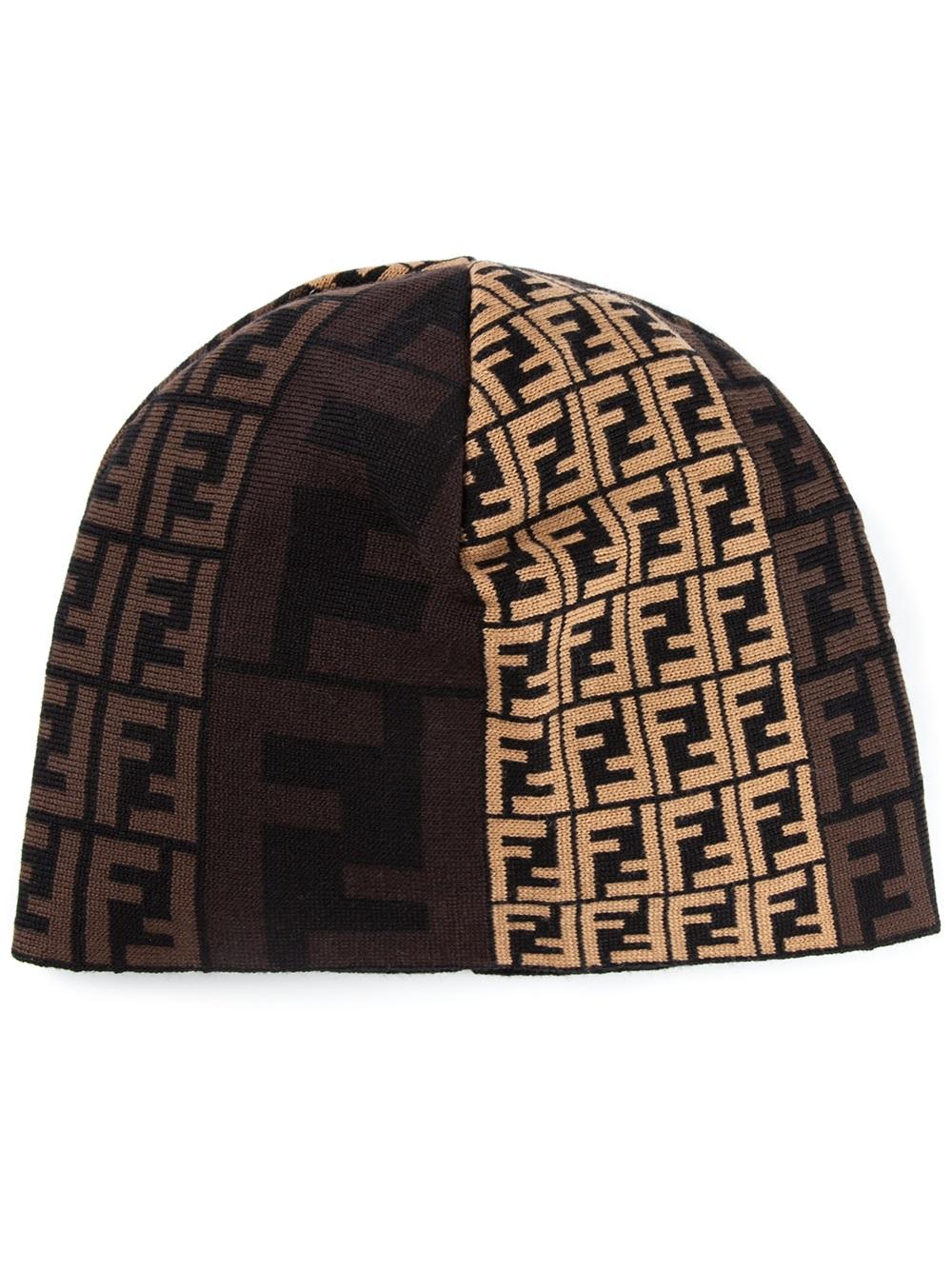 600de7a9931 Fendi Monogram Beanie Hat in Brown for Men - Lyst