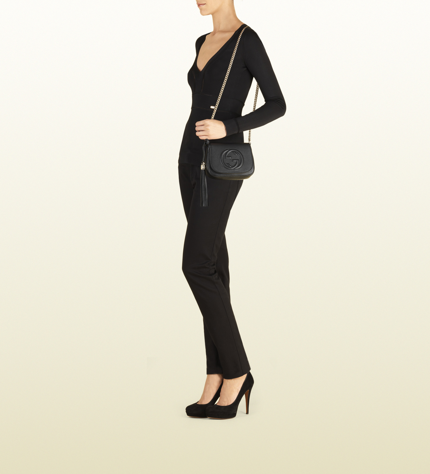 1b191997198a Gucci Soho Gg Leather Cross-body Bag in Black - Lyst