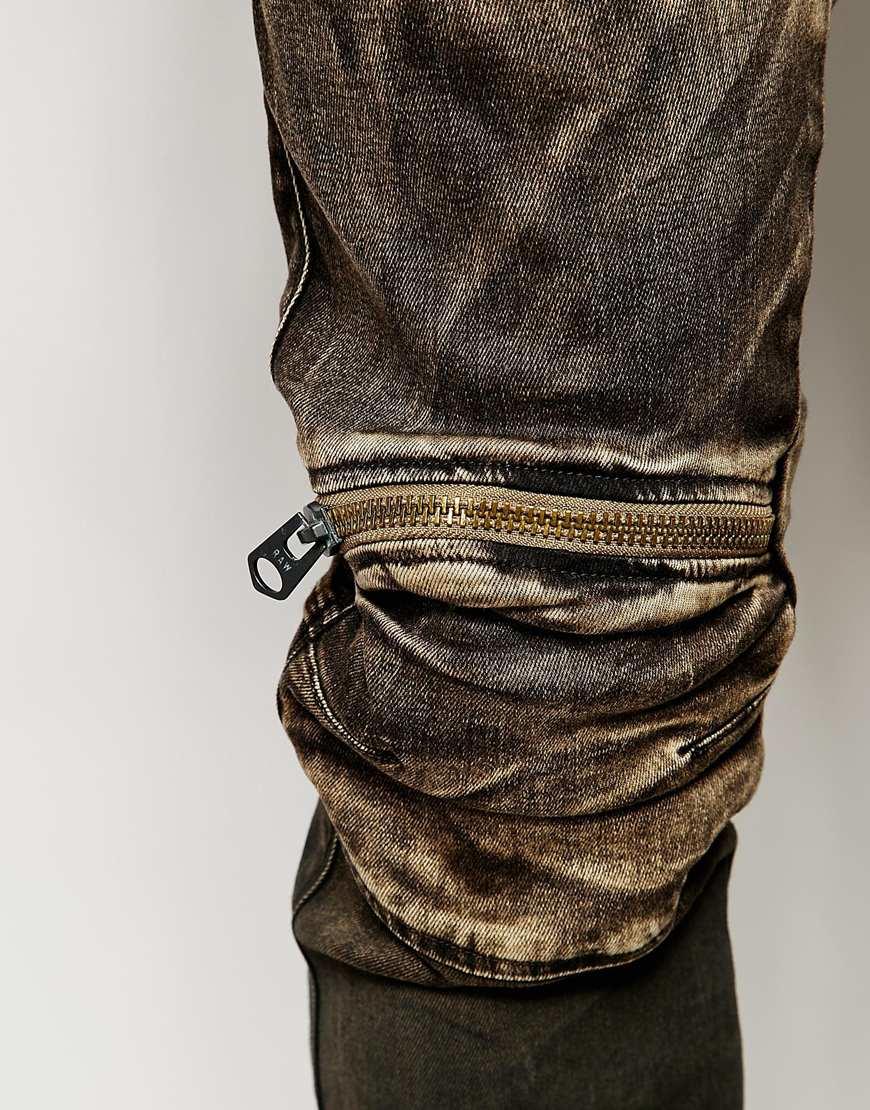 g star raw jeans 5620 elwood 3d zip knee super slim fit slander black aged cob 48 in brown for. Black Bedroom Furniture Sets. Home Design Ideas