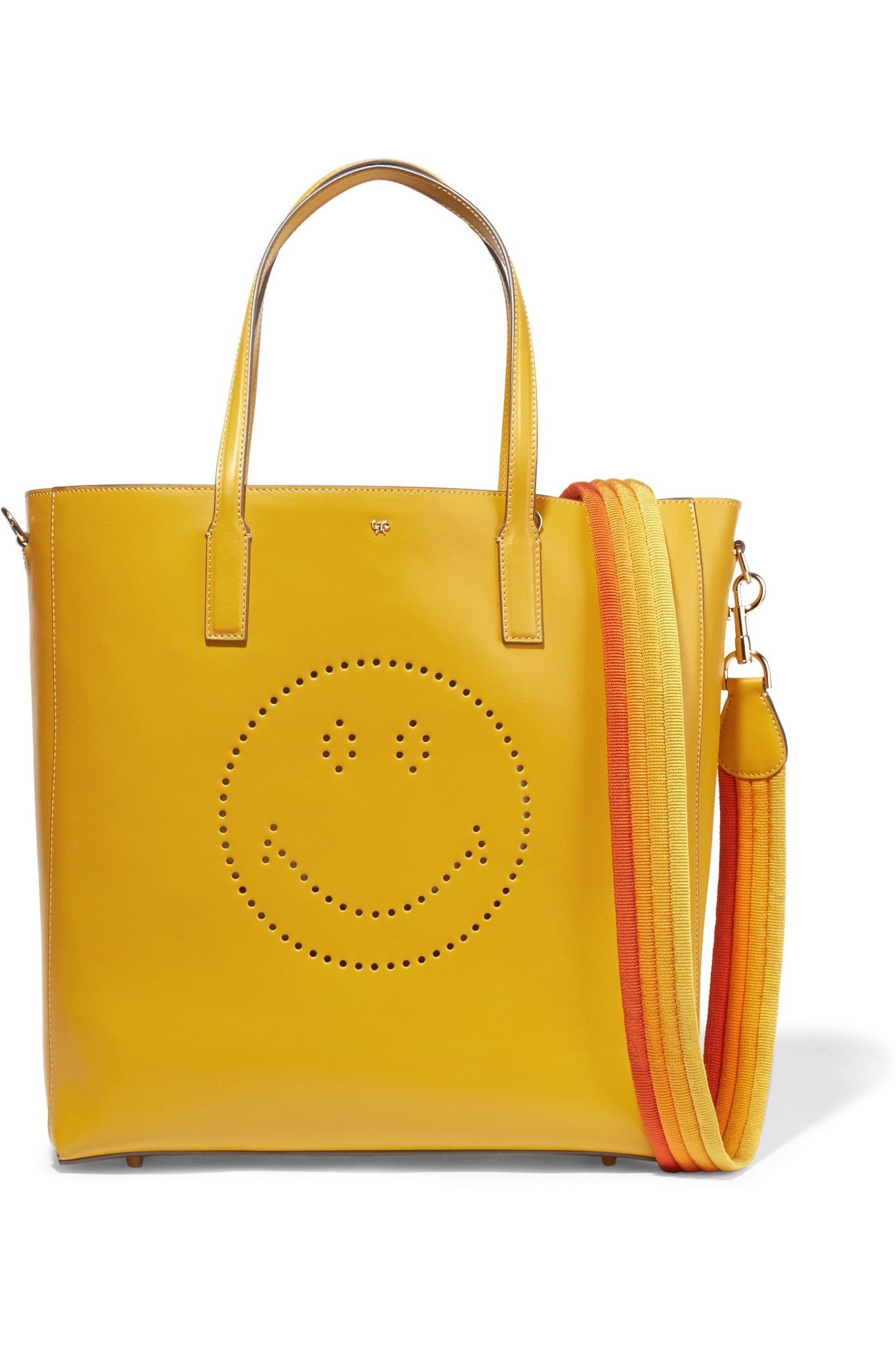 Anya Hindmarch Smiley Tote In Yellow Lyst