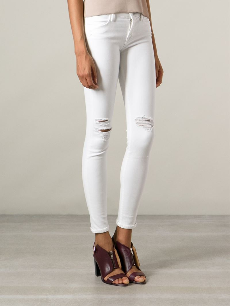 Burberry Denim Skinny Fit Low-rise White Jeans - Lyst