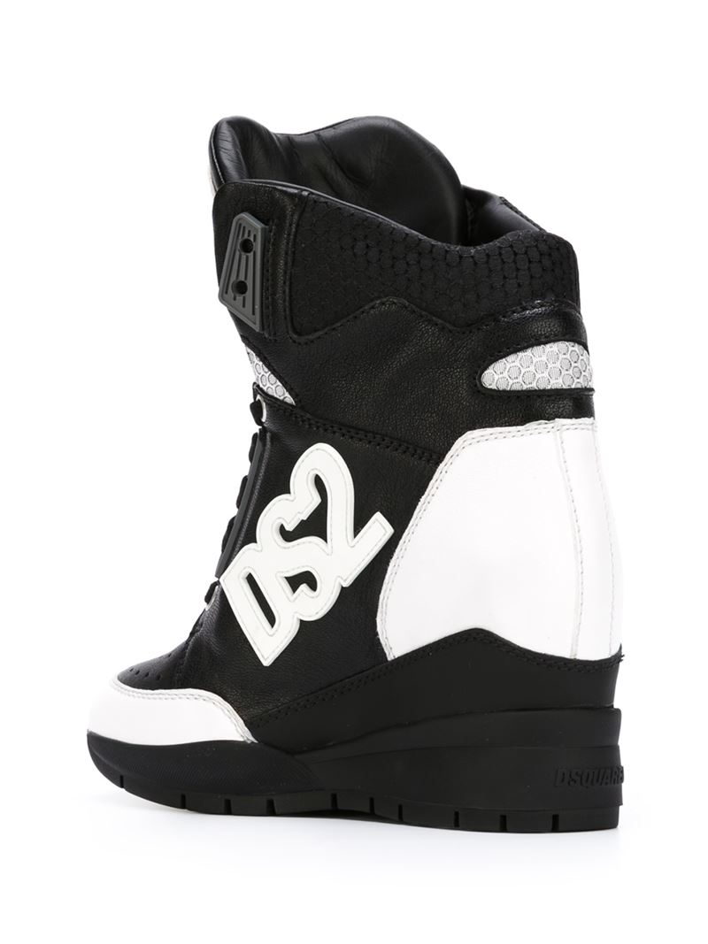 6e1ab2ac06e Lyst - Dsquared² Concealed Wedge Hi-top Sneakers in Black