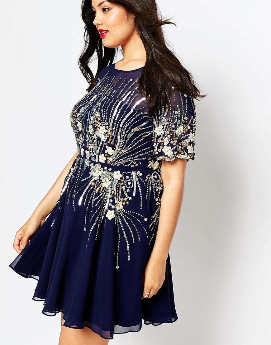 Asos Red Carpet Navy & Gold Sparkle Mesh Skater Dress in Blue | Lyst