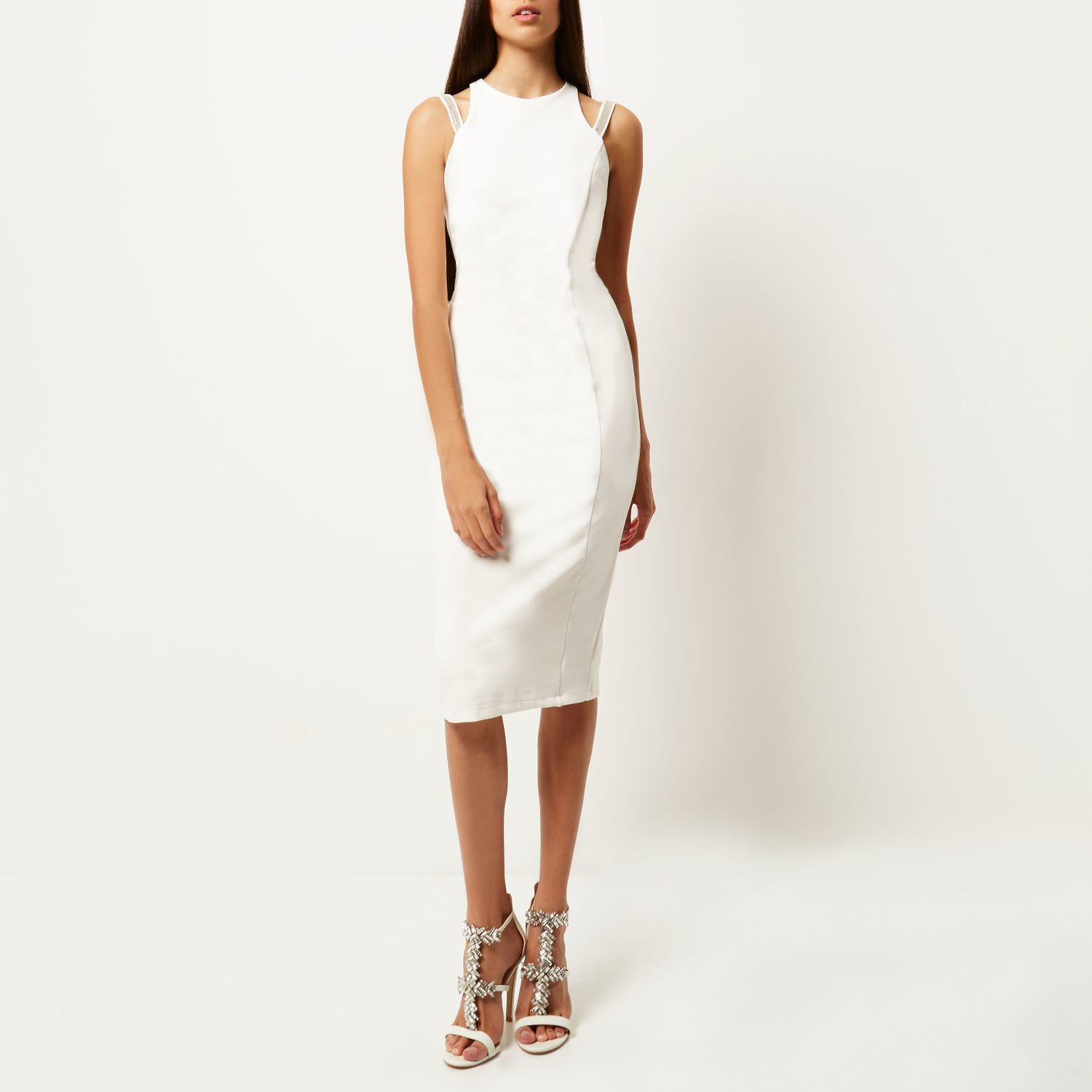Lyst River Island White Embellished Strap Bodycon Dress