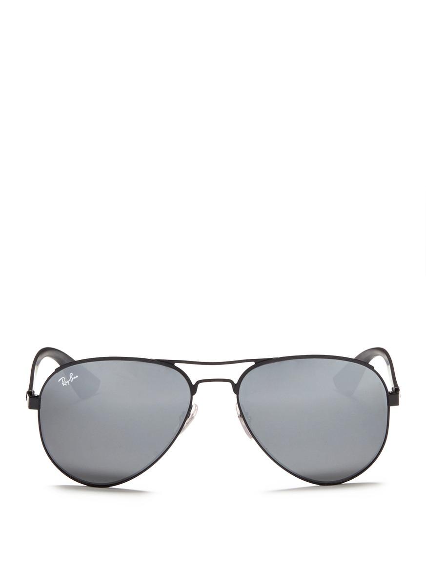 Lyst - Ray-Ban Titanium Frame Plastic Temple Aviator Sunglasses in Black