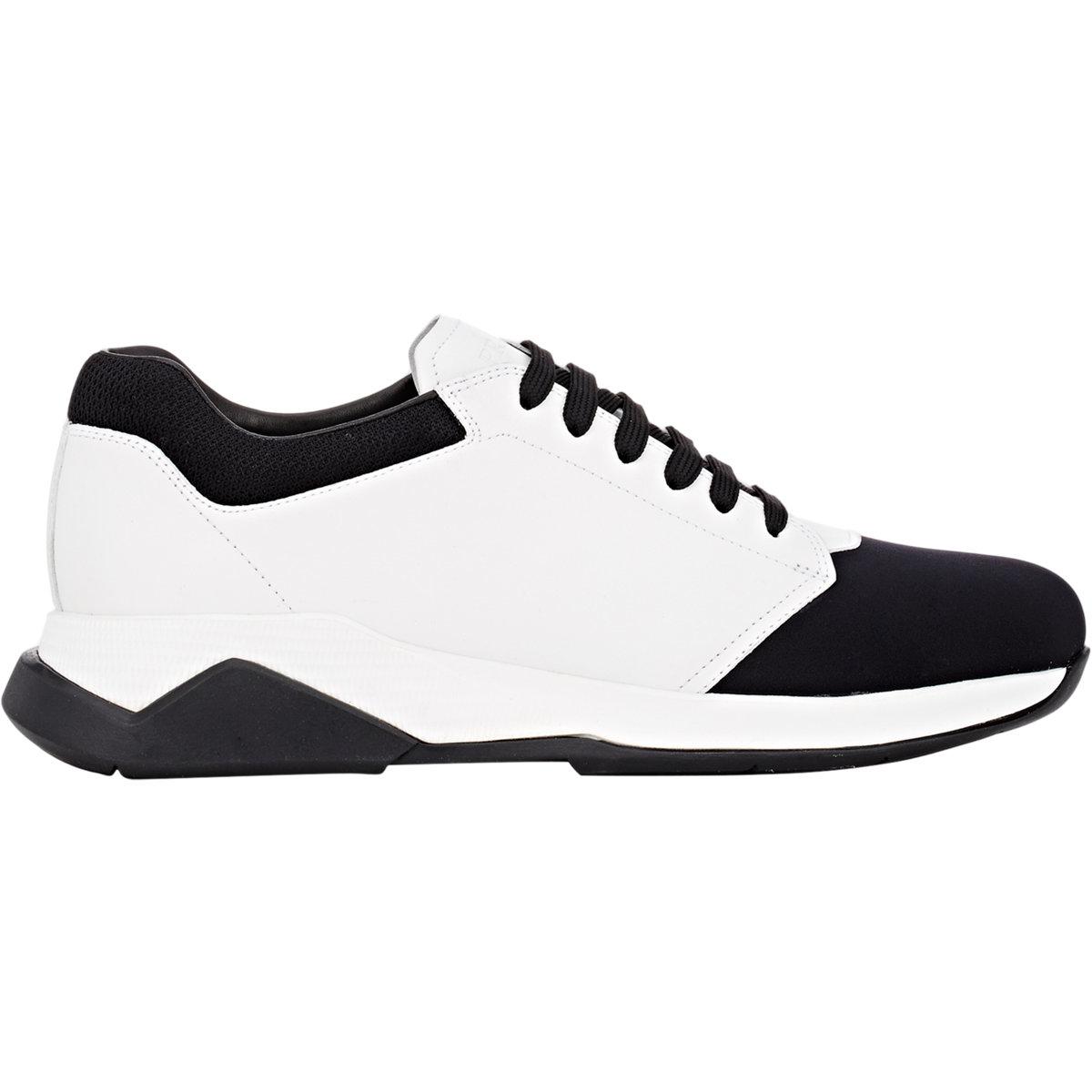 a0dc52506b5be Lyst - Prada Leather Neoprene Sneakers for Men arrives 0ec17 41910  Lyst -  Prada Frog Neoprene High Top Trainers in Black ...