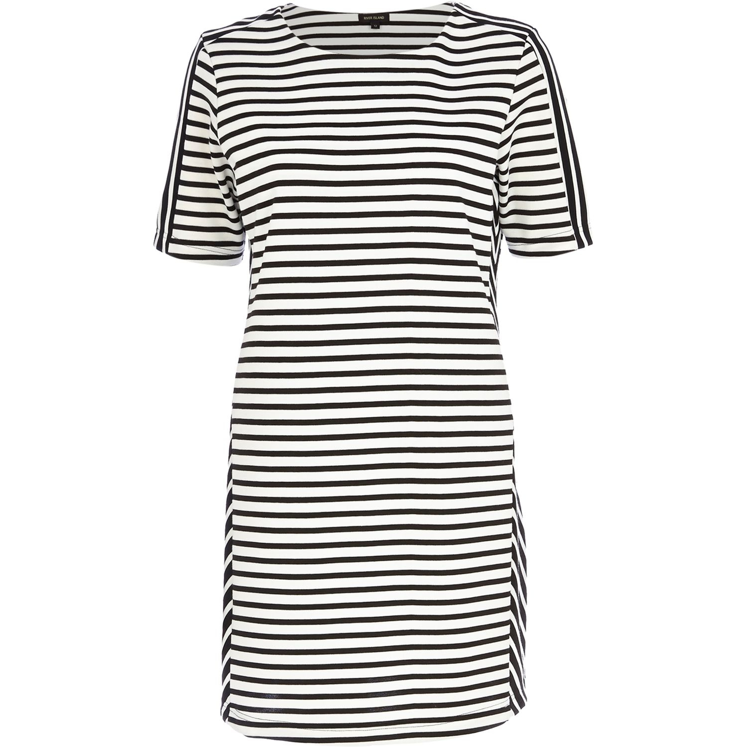 River Island Black And White Stripe T-Shirt Dress in Black ...