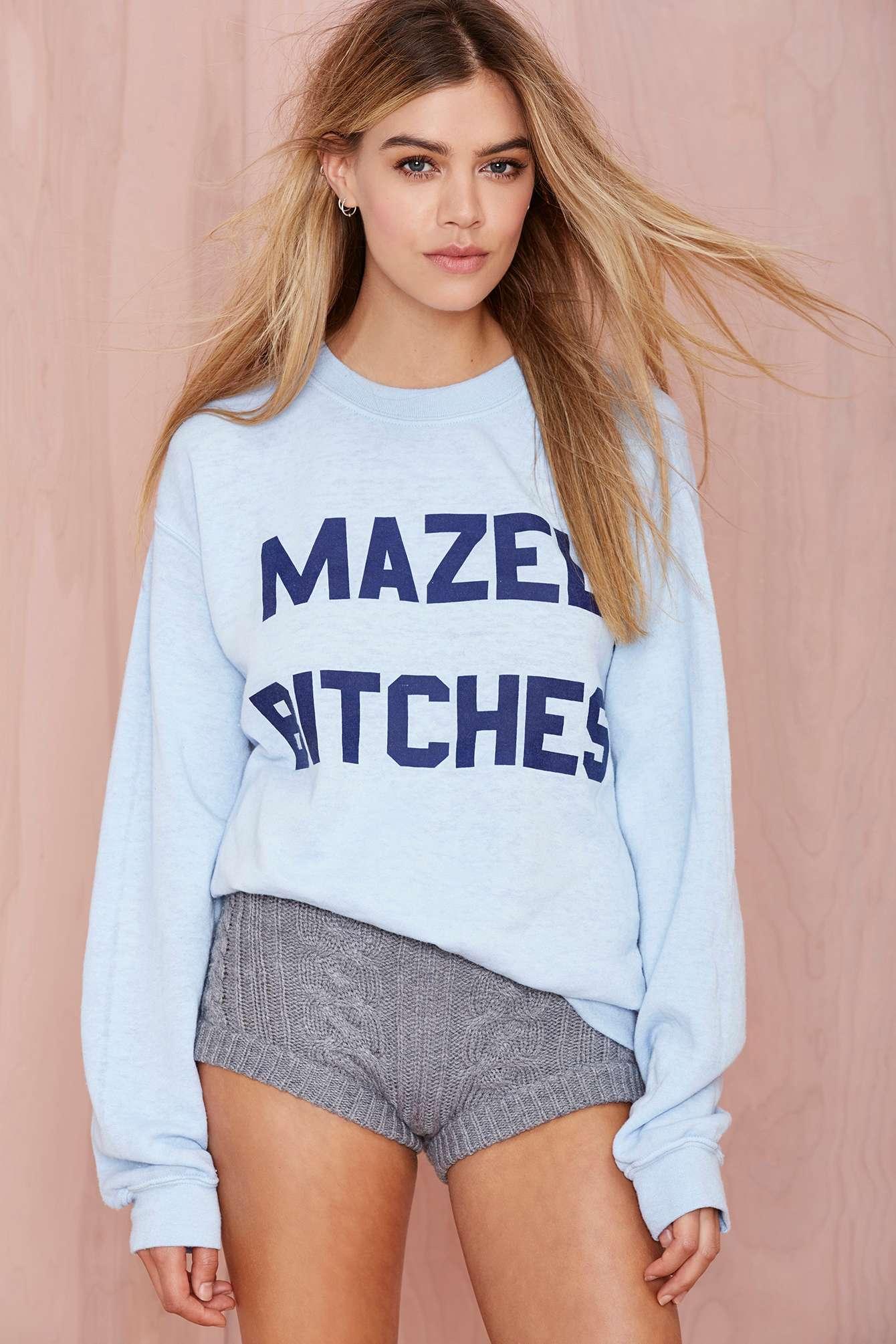 66f6d5b34072 Lyst - Nasty Gal Mazel Bitches Sweatshirt in Blue